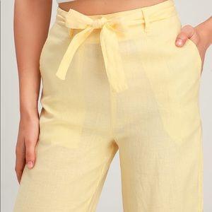 Rhythm Amalfi Yellow Belted Wide-Leg Pants